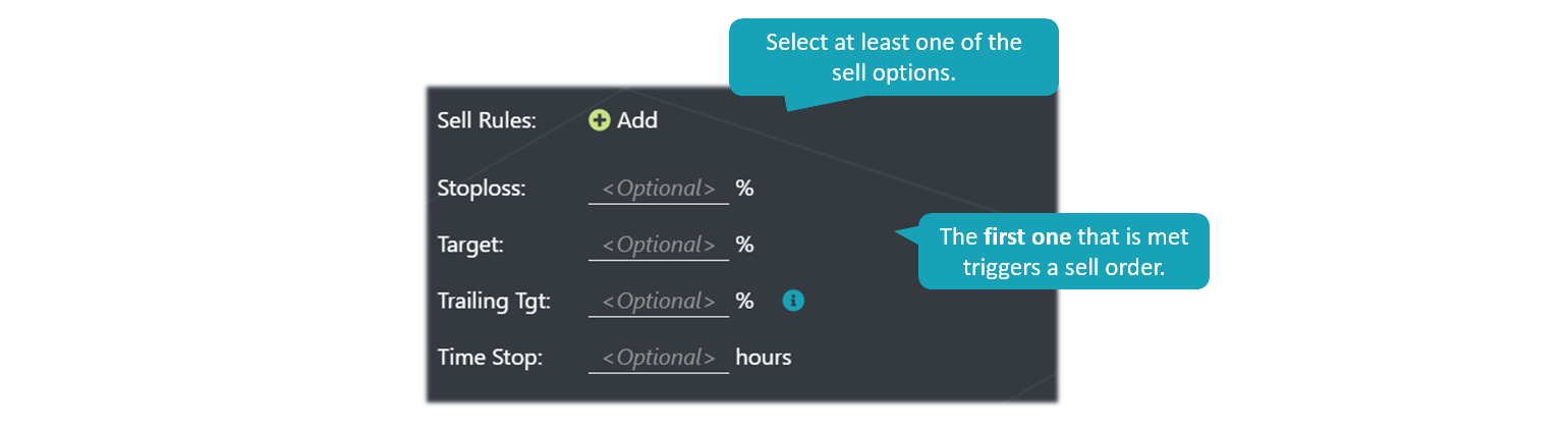 EasyCryptoBot - Crypto trading strategy settings - sell options